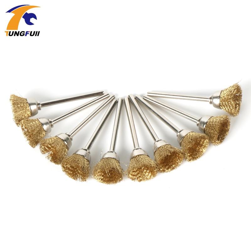 цена на TUNGFULL 5pcs Brass Wire Brushes Dremel Accessories For Dremel Rotary Tools U Shape Diameter 15mm Shank Diameter 3mm