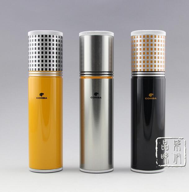 Cohiba Clic Gadgets Aluminium Alloy Travel Cigar Portable Jar Outdoor Humidor W Humidifier Hygrometer Flocking Bag In Accessories From