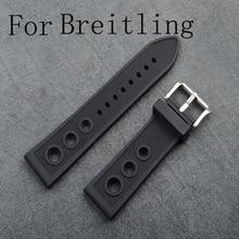 Marca de lujo negro 22 mm de silicona suave correa de reloj de goma, correa de caucho Natural para Breitlin gWith logo, Shiping libre