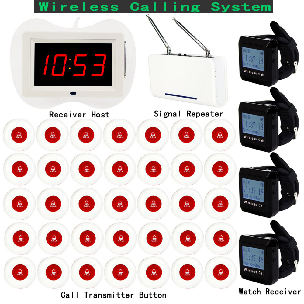Restaurant Pager Wireless Calling System 1pcs Receiver Host+4pcs Watch Receiver+1pcs Signal Repeater+35pcs Call Button F3258 4 watch pager receiver 20 call button 433mhz wireless calling paging system guest call pager restaurant equipment f3258