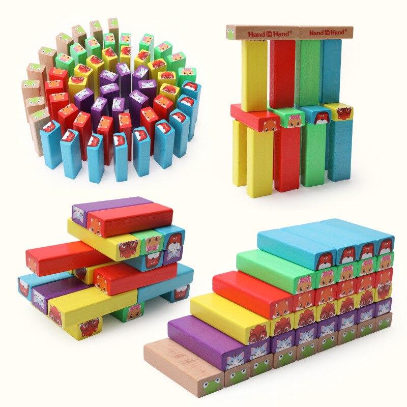 Enfants Jouet Bébé Jouets En Bois Coloré 54 pcs Jenga Blocs D'apprentissage Éducation Préscolaire Formation Brinquedos Juguets