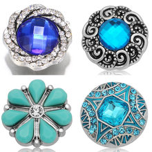 New KZ1432 Fashion Round aqua blue Rhinestone Flowers Beauty 20MM snap buttons fit DIY snap bracelet snap jewelry Christmas gift(China)
