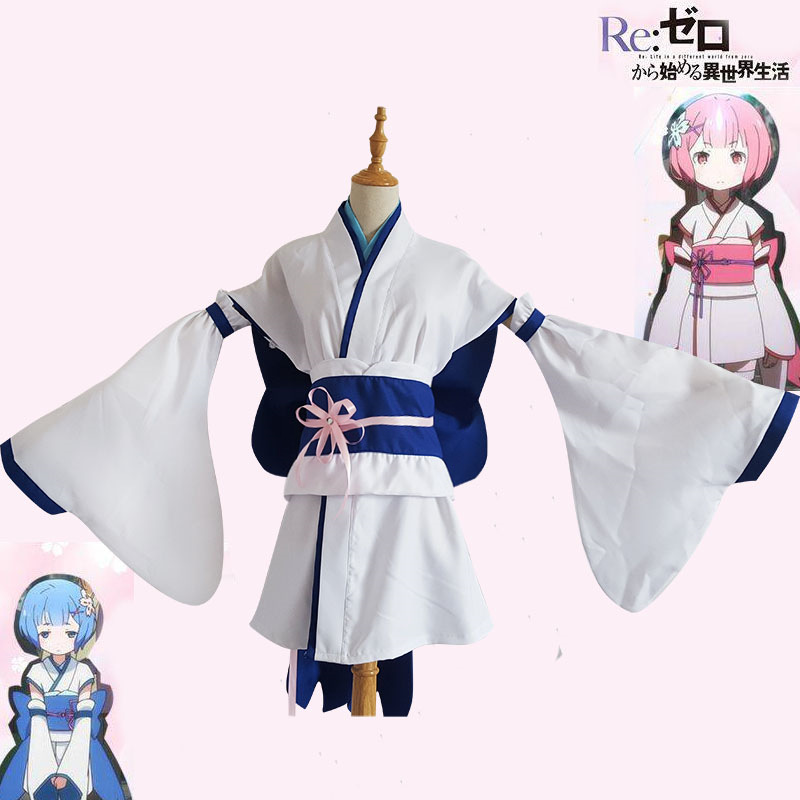 Anime Re:Zero Kara Hajimeru Isekai Seikatsu Cosplay Costume Ram Rem Childhood Kimono Anime Cosplay Woman Dress Halloween Costume