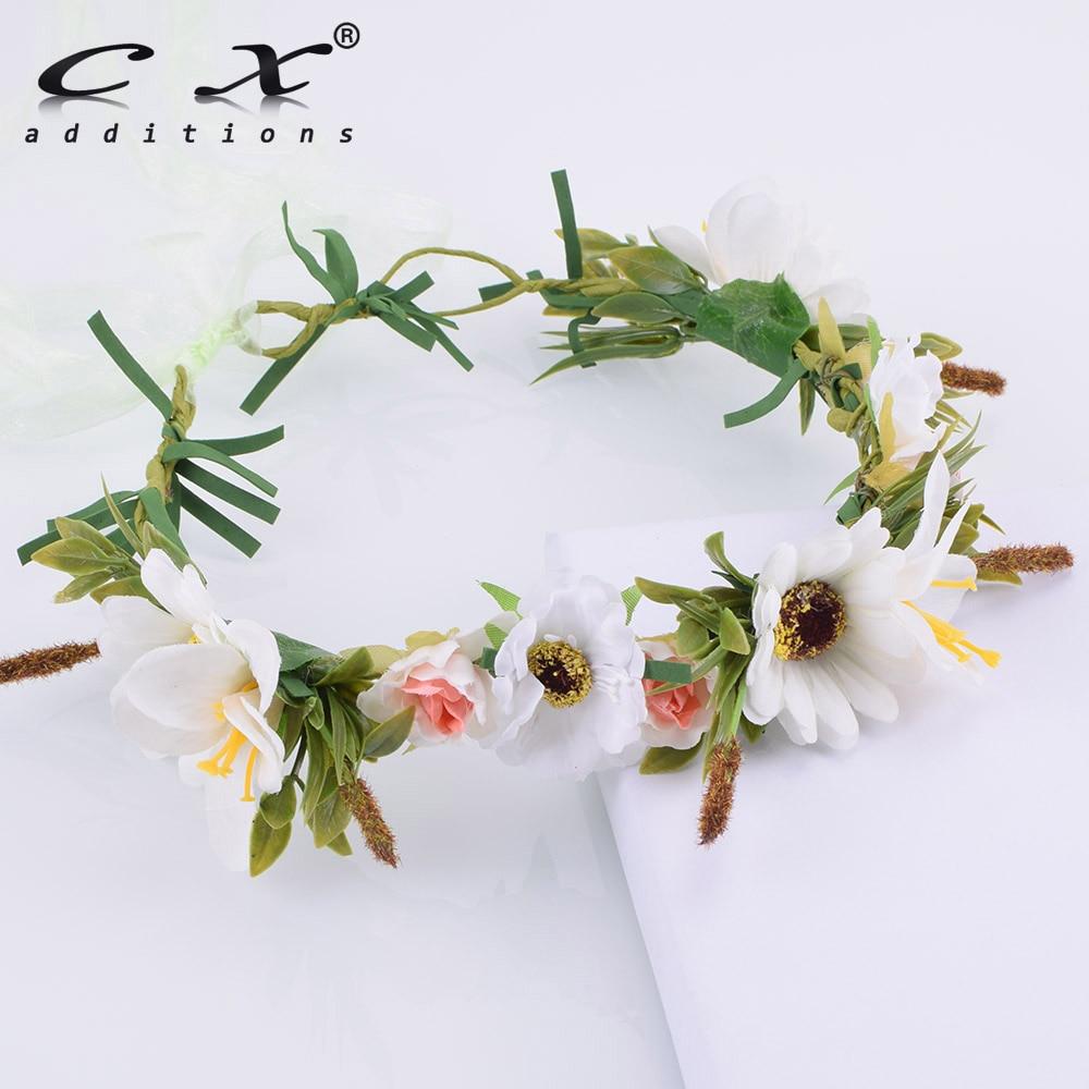 Handmade White Daisy Flower Grass Headwrap Headband Wreath Hairband