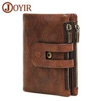 JOYIR Wallet Men Leather Genuine Zipper Hasp Carteira Masculina Couro Vintage Coin Purse Solid Men Wallets