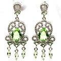 Moda Verde Tsavorite Garnet, branco CZ SheCrown mulher Casamento Criado Brincos de Prata 40x15mm