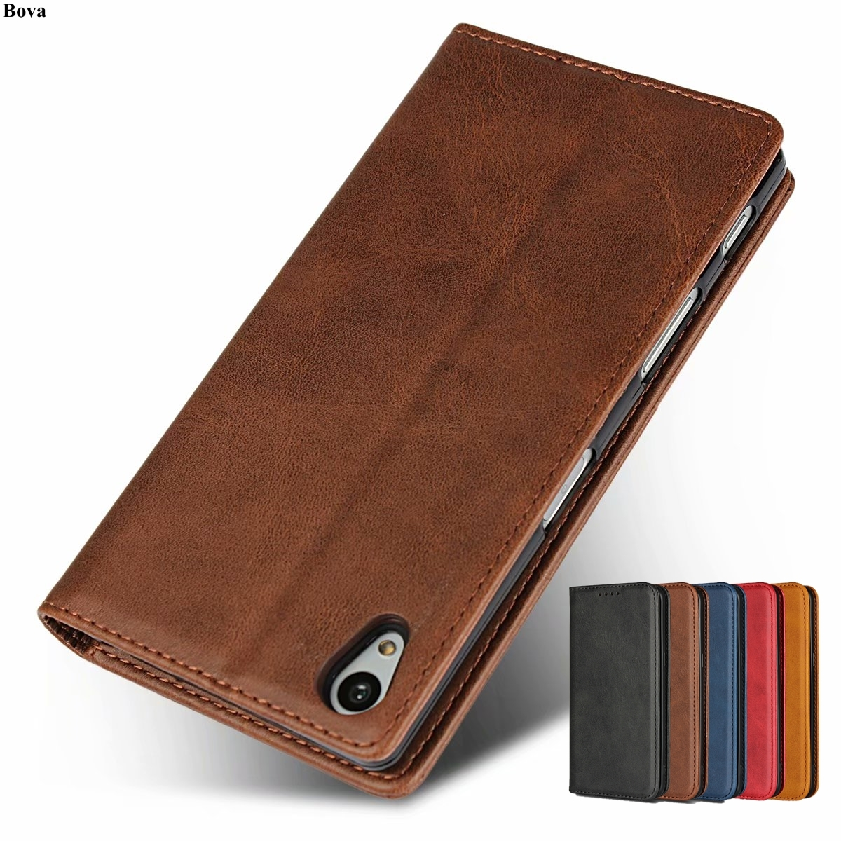 Leather case for <font><b>Sony</b></font> <font><b>Xperia</b></font> <font><b>Z5</b></font> E6603 E6633 <font><b>E6683</b></font> for <font><b>Sony</b></font> <font><b>Z5</b></font> flip case card holder Magnetic attraction cover Case Holster image