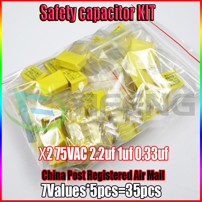 X2 предохранительный конденсатор 275VAC 2,2 мкФ 1 мкФ 0,33 мкФ Ассорти набор 7valuesx5pcs = 35 шт.