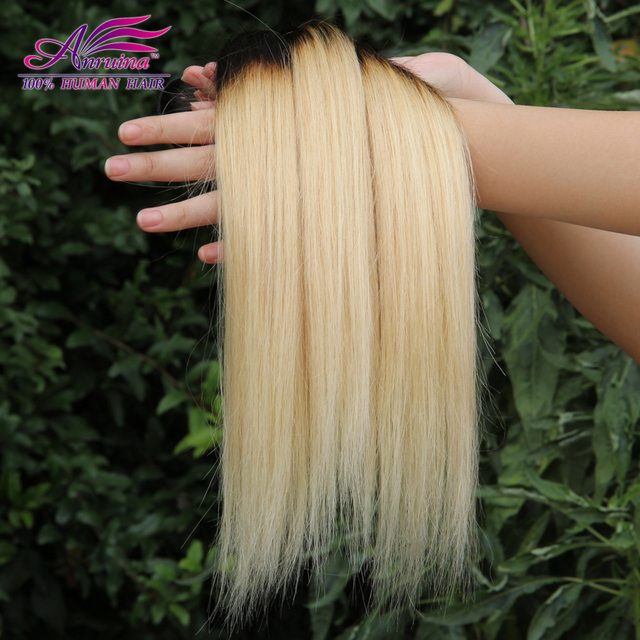 Ombre Peruvian Virgin Hair Straight 3Bundles 1B 613 Ombre Human Hair Extensions Platinum Blonde Two Tone Peruvian Straight Hair
