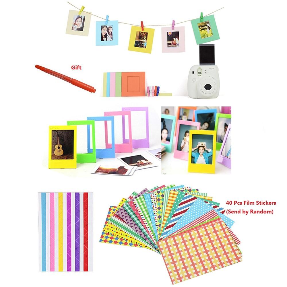 Stylo marqueur + autocollants couleur + cadres Photo pour Fujifilm Instax Mini 8 7 s 9 25 50 70 90 Kitty SP-1 et Films instantanés papier