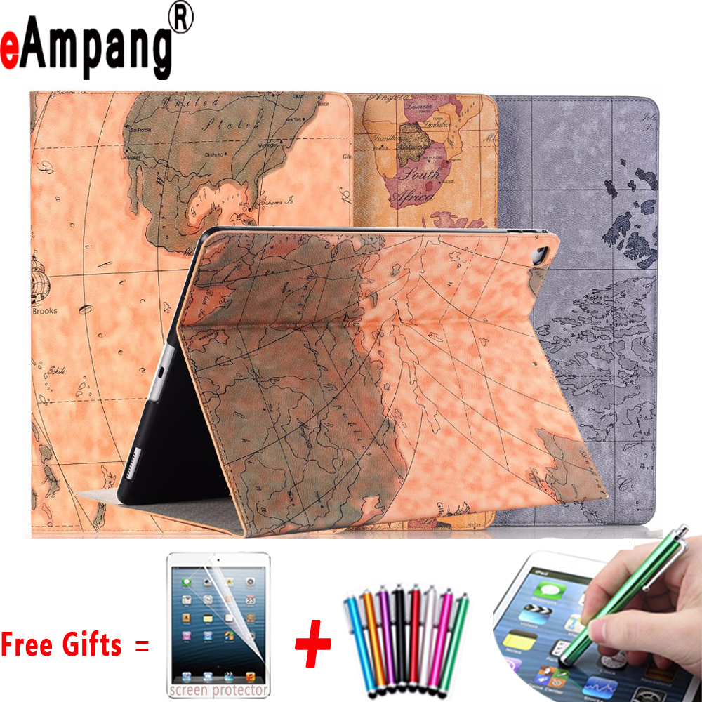 Case for Apple iPad Pro 12.9 2017 Map Pu Leather Ultra Thin Smart Cover for iPad Pro 12.9 2017 with Crad Slot + Screen Protector surehin nice smart leather case for apple ipad pro 12 9 cover case sleeve fit 1 2g 2015 2017 year thin magnetic transparent back