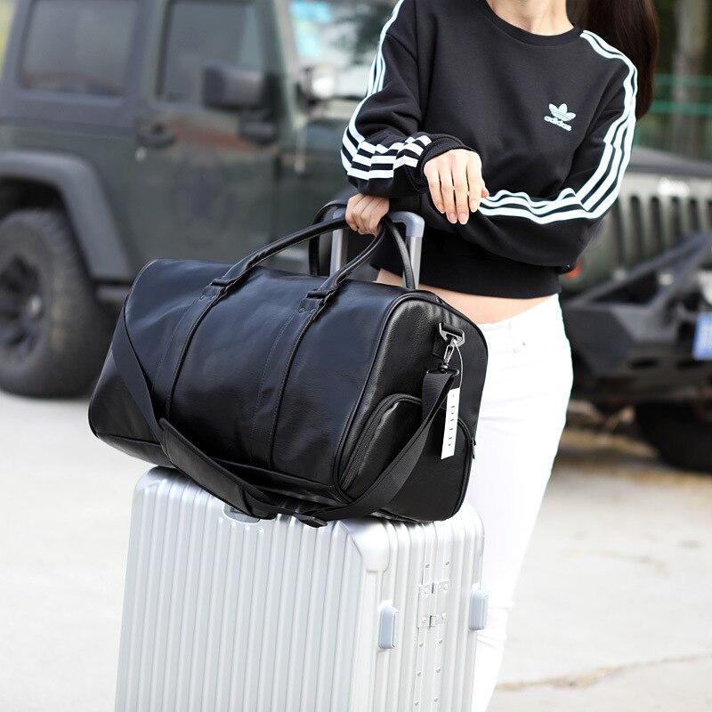 Women Travel Duffle Bag PU Leather Female Travel Bags Shoulder Handbag Round Bucket Shape Messenger Bag Tote Malas