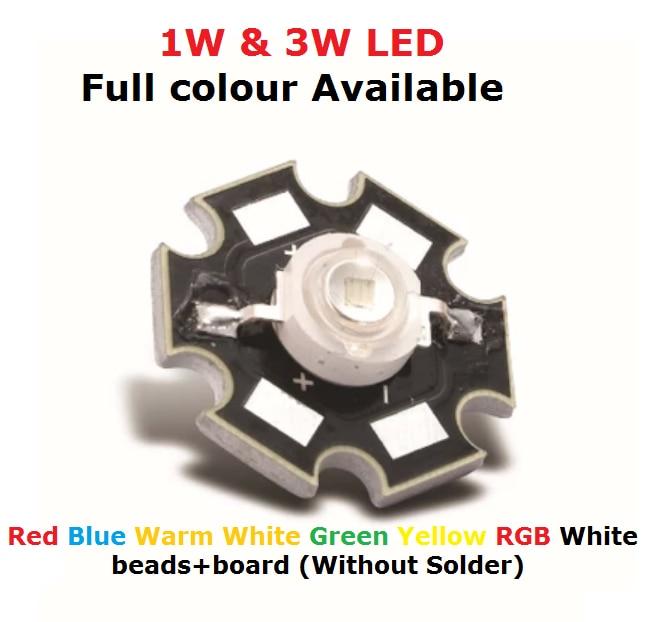 10 paar 1W 3W High power LED Lampen warm weiß 30mil 45mil Chips hohe licht lichter Rot Blau grün Gelb 10 stücke perlen + 10 stücke bord