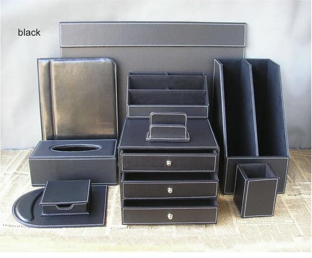 10pcs Set Leather Office Desk Organization Writing Board File Cabinet Stand Stationery Organizer