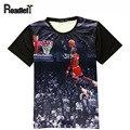 2016 verão mulheres & homens Jordan all-star 3D imprimir t-shirt camisa de t dos homens casuais roupas de hip hop tee tops