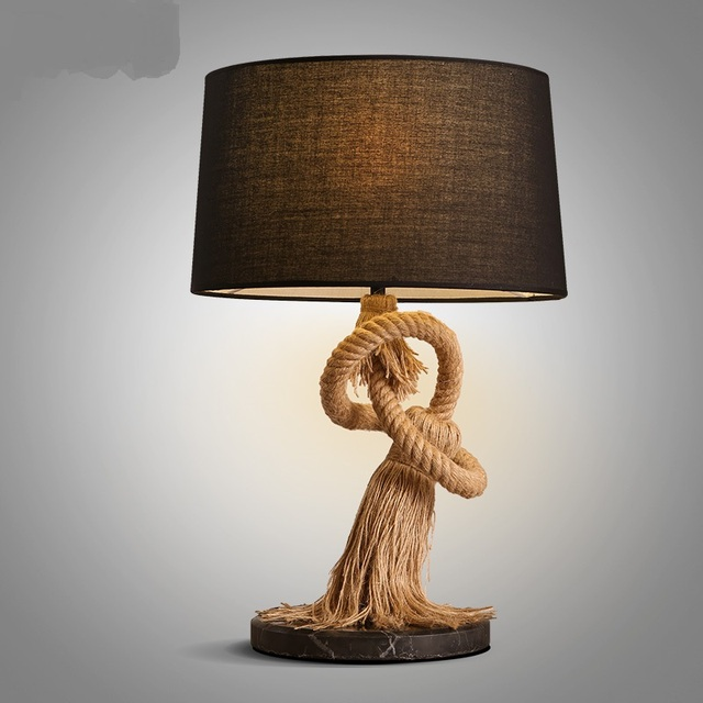 American Country Style Retro Table Lamps Lamp Bar Personality Study Decorative Fabric Headboard Lighting Bedroom