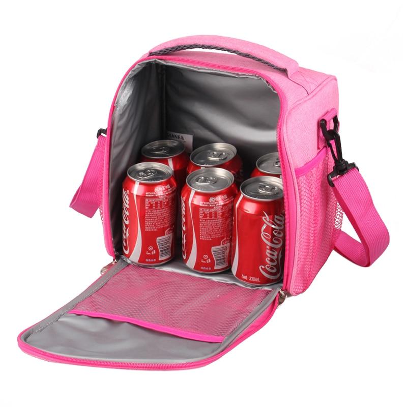Купить с кэшбэком SIKOTE Portable Cooler Bag Insulation Lunch Box Solid Tote Bag Crossbody Picnic Bag Pink Black Blue Lancheira Termica Marmitas