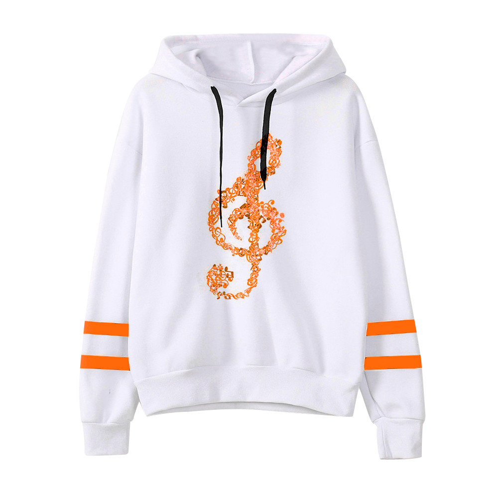 Custom Note pattern Sweatshirt women Musical Notes Long Sleeve Hoodie Sweatshirt Hooded Pullover warm Blouse vetement femme 2020
