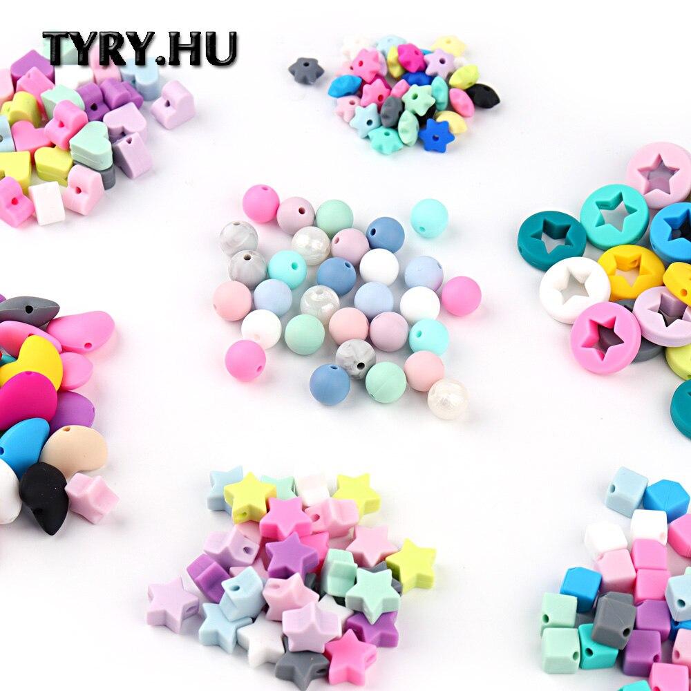 TYRY.HU 100PCS/lot silicone beads Baby Teether silicone teething beads for necklaces silicone teether Pacifier Chain Loose Bead