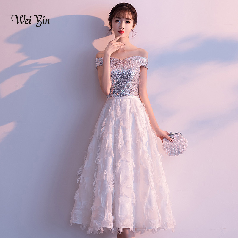 Wedding Dress White Vs Off White: Weiyin Short Evening Dresses White Sequins Wedding Party