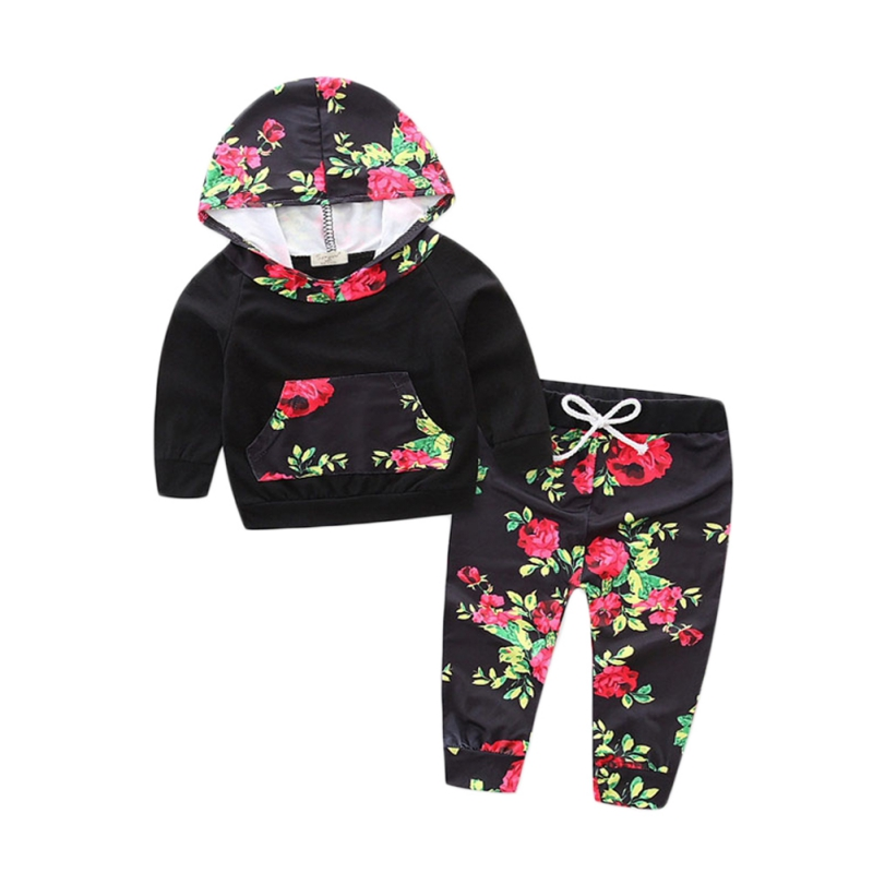 Baby Boys Girls Dress Winter Newborn Girls Hooded Floral Tops Pants 2 Pcs Outfit Girls Clothing Black Set Flowers Printed Baby
