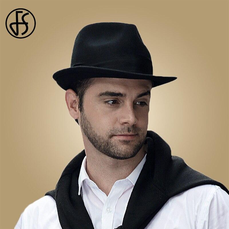 FS Mens Fedora Hat Wide Brim 100% Wool Australia Trilby Man Black Felt Hat Unisex Panama Jazz Cap Gangster Chapeau Feutre Homme