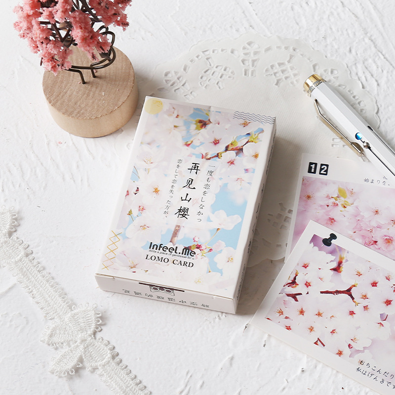 28 Sheets/Set Beautiful Cherry Blossoms Series Lomo Card Mini Postcard Greeting Card Christmas Gifts