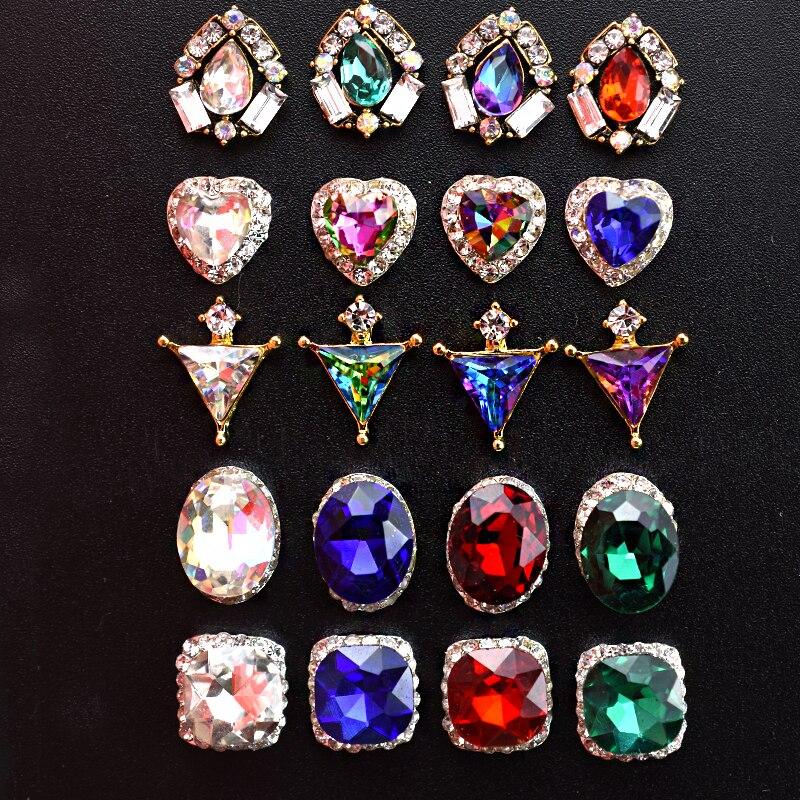 10 Pcs/Lot Nail Art décorations 3D charme cristal Strass ongles bijoux Accessoires corée Style alliage Strass nouveauté Hot