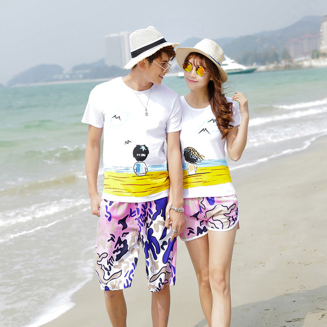 Korean couple shirts and pants for beach for lovers matching couple clothes couples shirts and ...