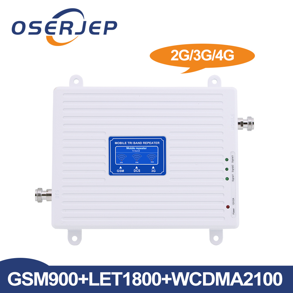 Oserjep LCD Display 2G 3G 4G Tri Band Signal Booster GSM 900 DCS LTE 1800 WCDMA