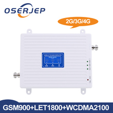 Oserjep LCD Display 2G 3G 4G Tri Band Signal Booster GSM 900/DCS LTE 1800/WCDMA UMTS 2100 MHz Mobile Signal Repeater Amplifier