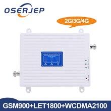 Oserjep lcdディスプレイ2グラム3グラム4グラムトライバンド信号ブースターgsm 900/dcs lte 1800/wcdma、umts 2100 mhz携帯信号リピータアンプ