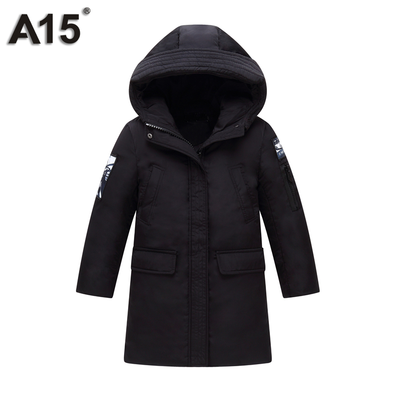 A15 Kids Boys Clothes Winter Duck Down Coat with Hood 2017 New Jacket for Boys Parkas Children Outerwear Coat 8 10 12 14 16 Year