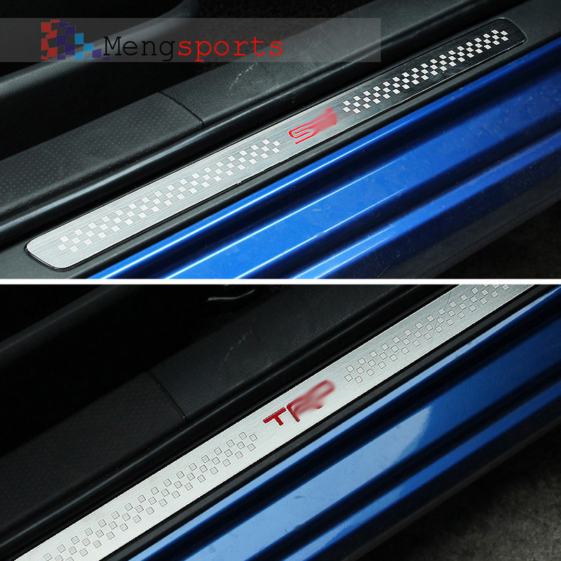 2pcs For BRZ STI Steel Alloy Door Sill Plates Seat Heat Rim Emblem Badges Keyring Case Shipping Free