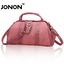 JONON Handbags Women Bags Genuine Leather Bag Feminine Bolsas Shoulder Bags Ladies Alligator Crocodile Doctor Bag Vintage Totes