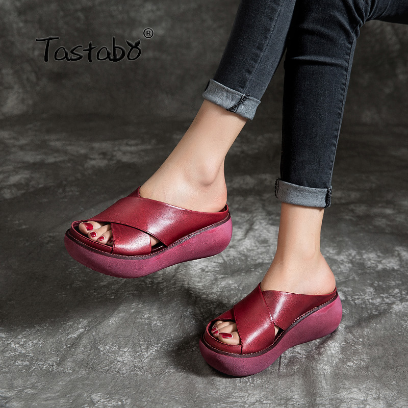 Tastabo 100%Genuine Leather Women's slippers wear-resistant outsole design Red Black S183-28 Casual style beach shoes(China)