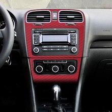 Подкладке центральной Управление Панель углерода Волокна защиты Наклейки наклейки стайлинга автомобилей для Фольксваген Гольф 6 MK6 GTI Аксессуары