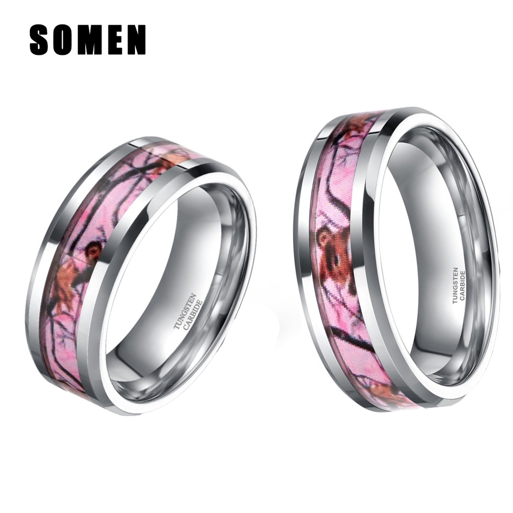 6MM/8MM Mens Womens Fashion Tungsten Carbide Ring Wedding Band Deer Antlers  Camo Inlay Rings