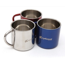 Stainless Steel Outdoor Travel Mug With Handle And Lid Insulation Lightweight Thermal Cup Carabiner Backpacking Camping Hiking