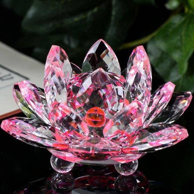 Elegant Gifts Crystal Crafts Glass Lotus Flower Home Decor Living