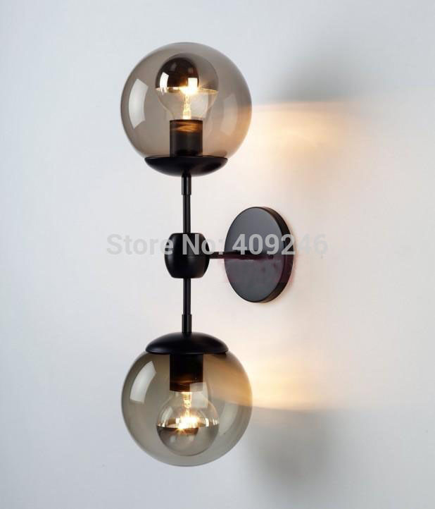ФОТО Edison Double Glass Ball Village Loft Industrial Retro Mirror Wall Lamp E27 Lighting For Cafe Bar Hall Dining Room Coffee Shop