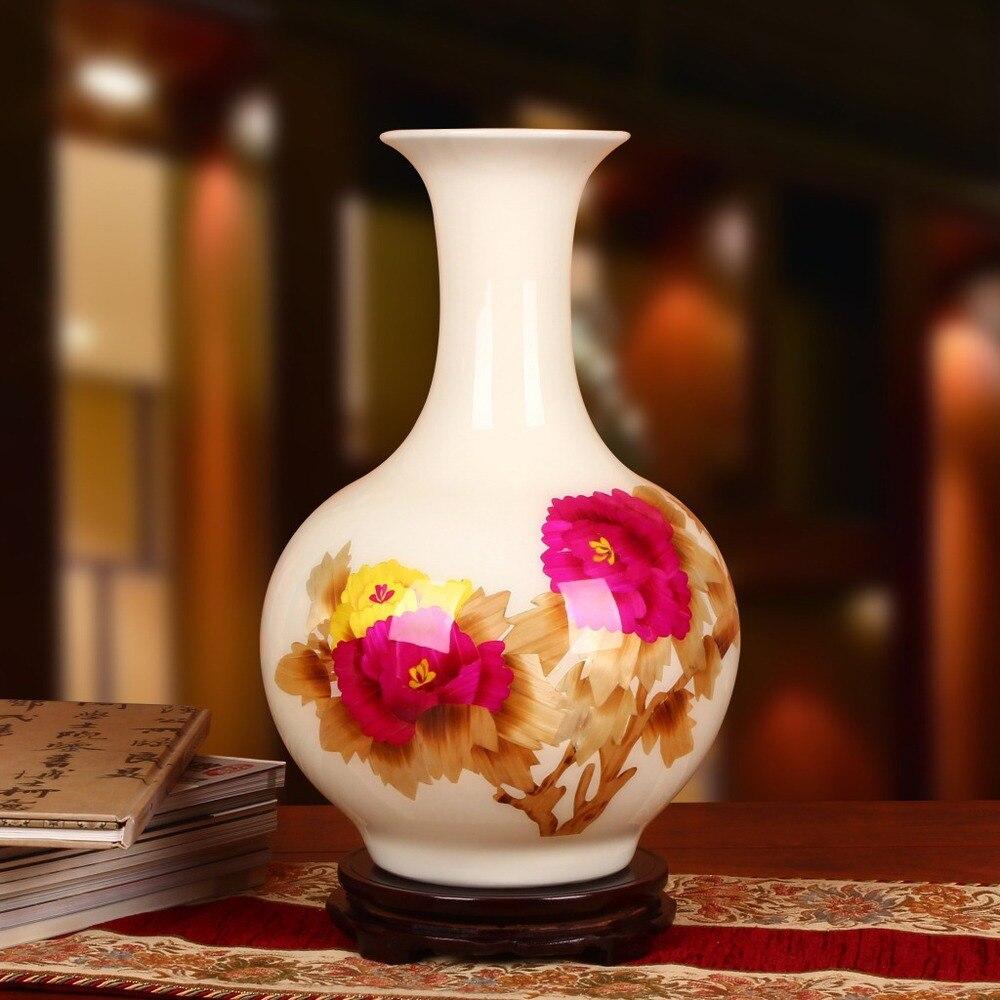 Цзиндэчжэнь керамика оптовая продажа с фабрики белый пион цветок ваза с современными соломы прямой домашнего интерьера украшения