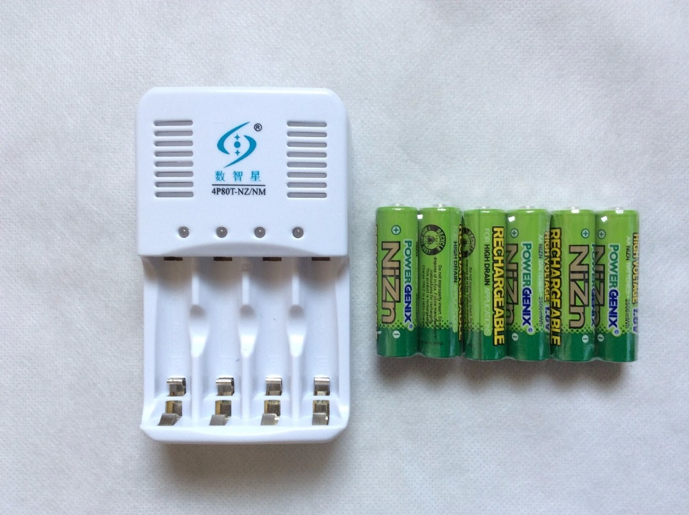 Free shipping 6Pcs NiZn1.6V  2500mWh AA Rechargeable  Battery+ 1pcs NiZn/Ni-MH Charger set High Voltage For High Drain Usage