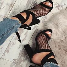 Sexy Summer Women Fishnet High Block Heels Ankle Strappy Peep Toe Sandals Shoes