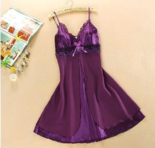 Summer Soft Comfortable Faux Satin Silk Sexy Lace Bow Strap Night Dress Nightgown Sleepshirt for Woman Fashion Plus Size