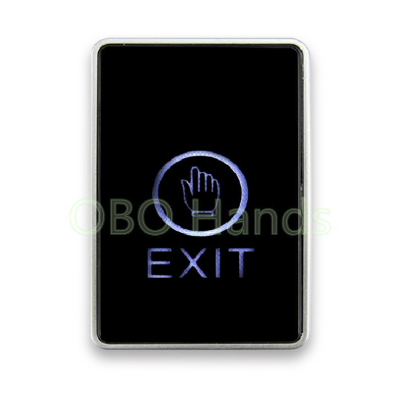 Free shipping LED touch screen Exit Button For Door access control system with LED Back light touch door exit security switch alloy cover touch door exit for door access control system