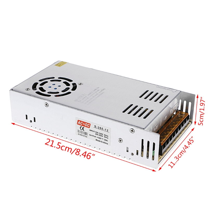 AC 100-220V To DC 12V 30A 360W Switch Power Supply Driver Adapter LED Strip Light  W315 power supply 24v 800w dc power adapter ac110 220v non waterproof led driver 33a ups for strip lamps wholesale 1pcs