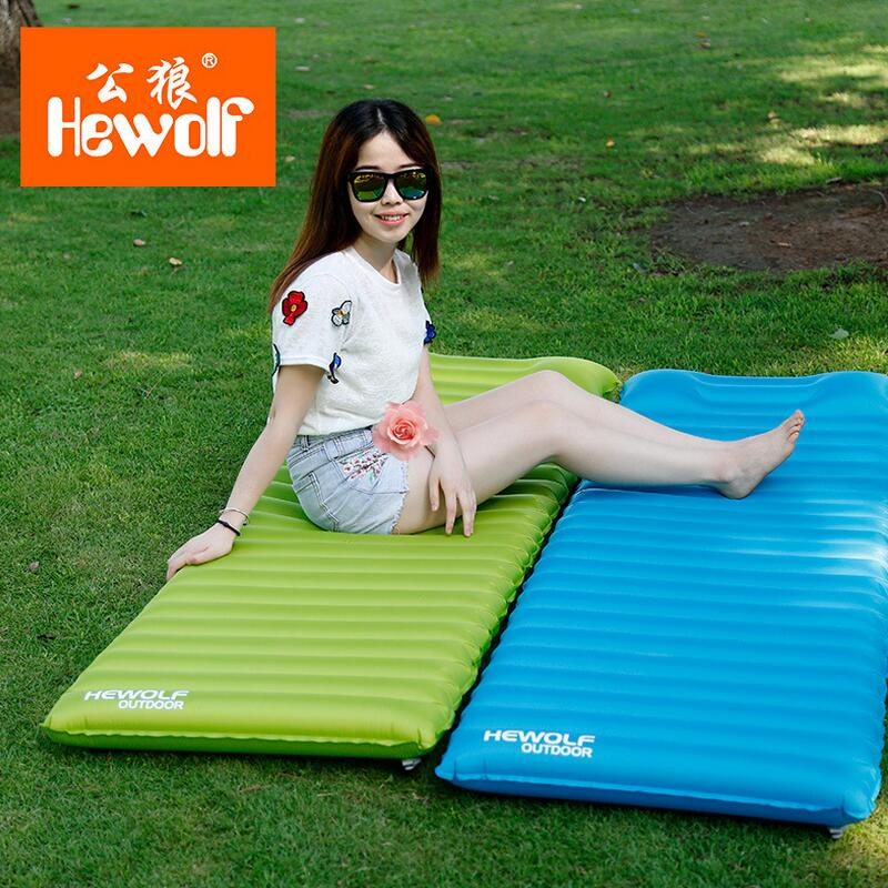 Hewolf inflatable mattress beach mat outdoor camping mat air bed waterproof thick Air mattress for sleeping pad 180*60*8.5cm durable thicken pvc car travel inflatable bed automotive air mattress camping mat with air pump