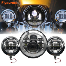 Headlight Motorcycle Parts 7″ LED Motor Headlight 4.5″ 4 1/2 inch Passing Lights For Heritage Softail Classic