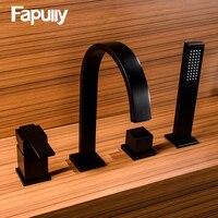 Fapully Ванная раковина кран Черный Гибкий ручной спрей смеситель для раковины с одной ручкой выдвижной горячей и холодной воды Смеситель для